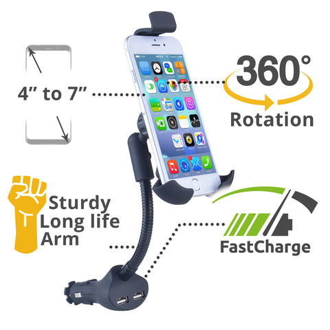 Blackcat Car Mobile Holder with Charger 3.1A | Sturdy Gooseneck design