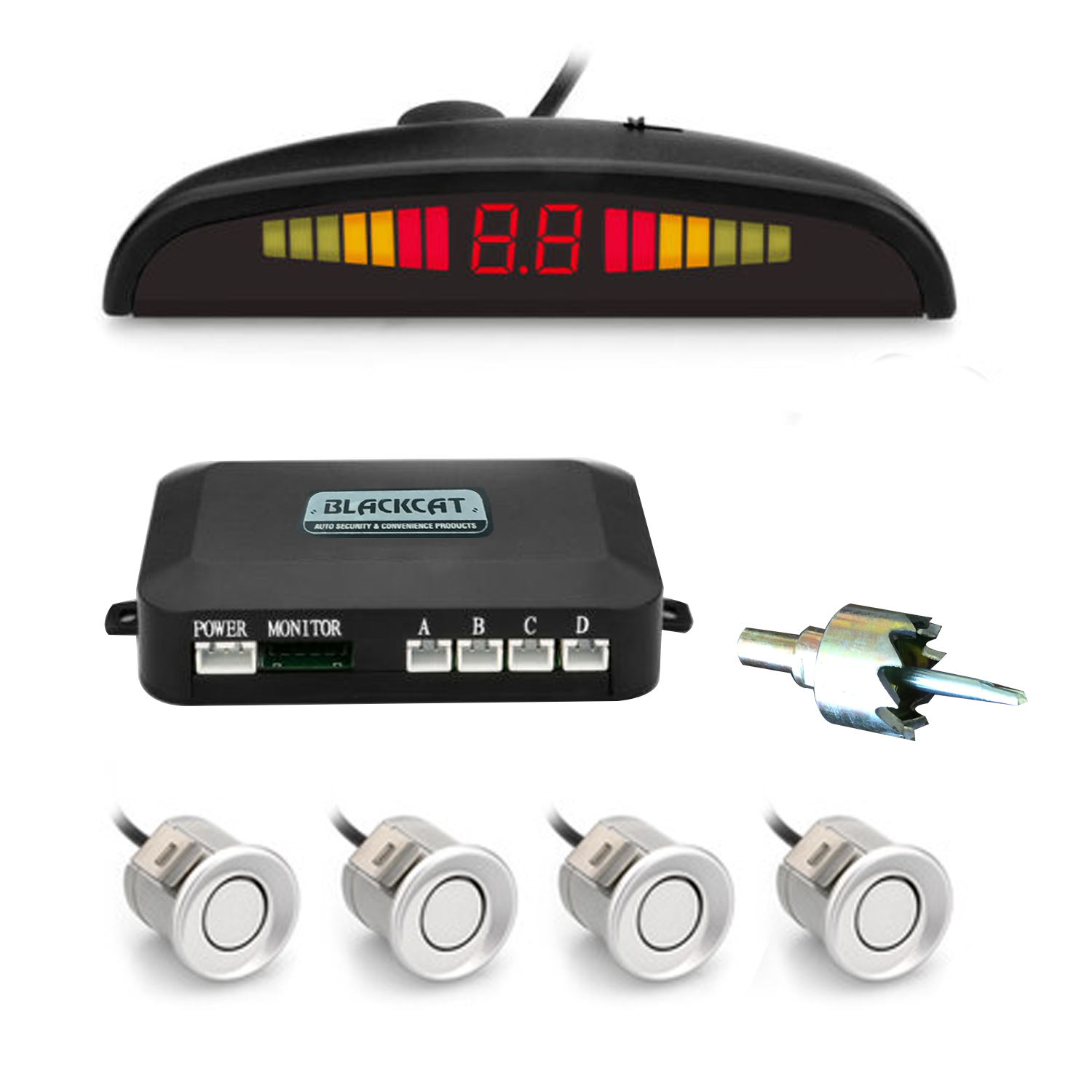 Blackcat Car Reverse Parking Sensor & Screen (LED) on Dashboard with Human Voice; 4 ultrasonic sensors