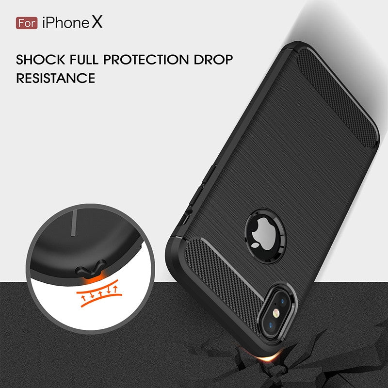 Iphone X Shock Proof  Carbon case in black in pakistan