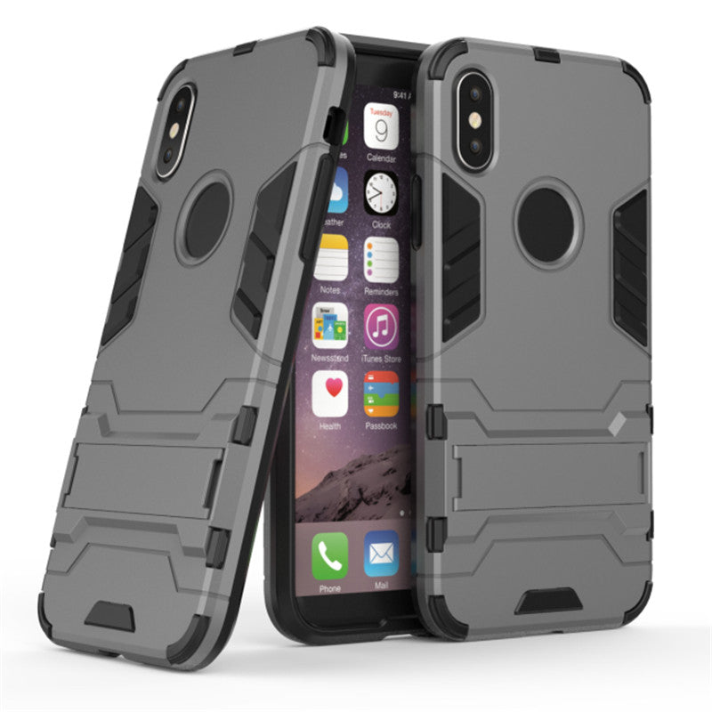IPhone X HYBRID TPU+PC IRON MAN ARMOR SHIELD CASE in grey color in pakistan buy now