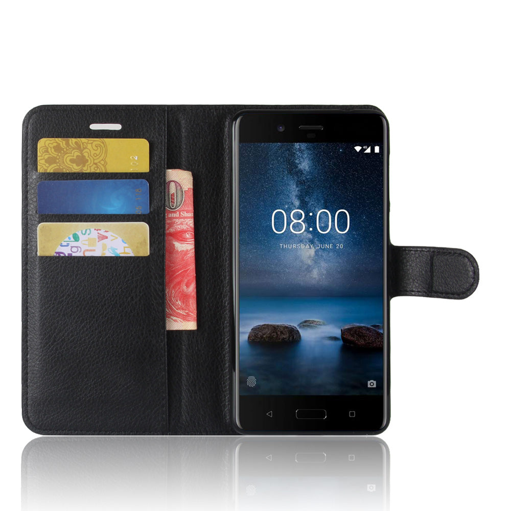 Nokia 8 Leather flip Black