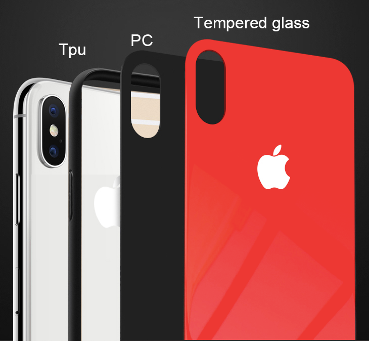 iPhone glass back case red 3 in 1