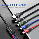 Baseus 4 in 1 Fast Charging Cable Micro Type-C &  Lightning