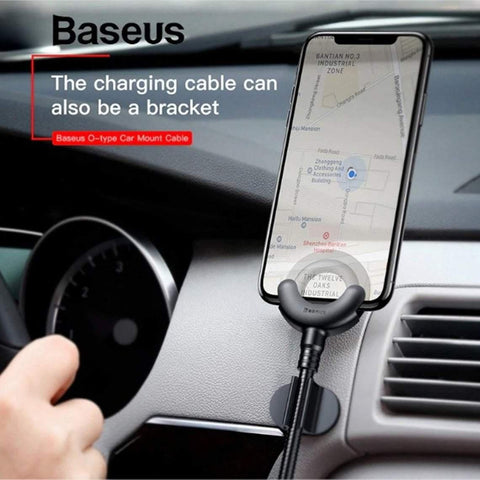 Baseus 2 in 1 Car Mobile Holder+Fast Charging Cable iPhone - Phonecase.PK