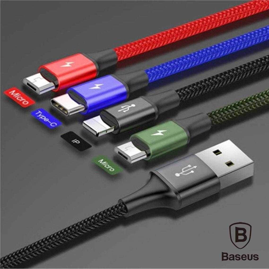 Baseus 4 in 1 Fast Charging Cable 2 Micro 1 Type-C & 1 Lightning