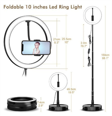 Retractable 26 cm LED Portable Ring Light