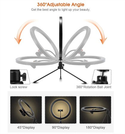 26 CM Professional LED Selfie Ring Light with mini Tripod Stand