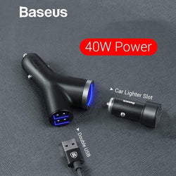 Baseus 40W Y Shape Fast Car Charger 3 in 1 - Phonecase.PK