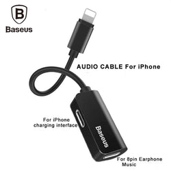 Baseus iPhone Male to Double iPhone Female Adapter Charging+Music+Calling Same Time - Phonecase.PK