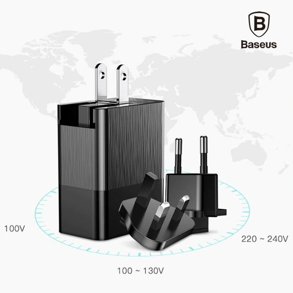 Baseus 3 Port USB Charger 3in1 Triple EU US UK Plug 3.4 A Fast Travel Charger