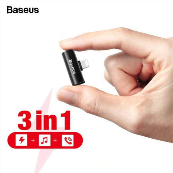Baseus L46 3 in 1 Charging+Music+Calling  Lightning iPhone male to Dual iPhone Female adopter - Phonecase.PK
