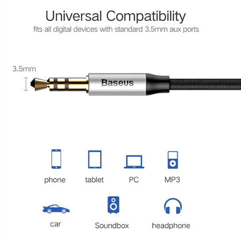 Baseus Aux Cable for earphone Headphone Car Aux 3.5mm jack Audio Cable