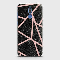 HUAWEI MATE 10 LITE Black Sparkle Glitter With RoseGold Lines Case