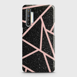 REALME X2 Black Sparkle Glitter With RoseGold Lines Case