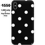 IPHONE XS White Dots on black Background Case