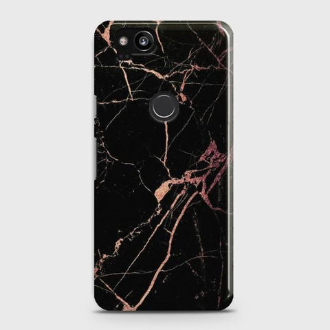 Google Pixel 2 Black Rose Gold Marble Case - Phonecase.PK