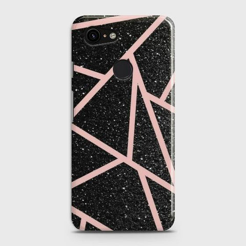 Google Pixel 3 XL Black Sparkle Glitter With RoseGold Lines Case - Phonecase.PK