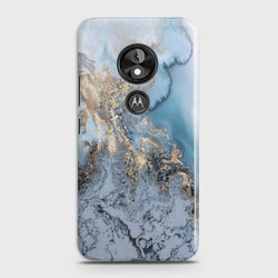 Motorola Moto E5 Golden Blue Marble Case
