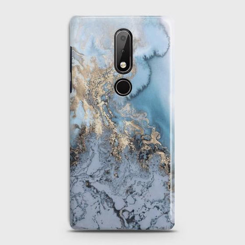 NOKIA 7.1 Golden Blue Marble Case