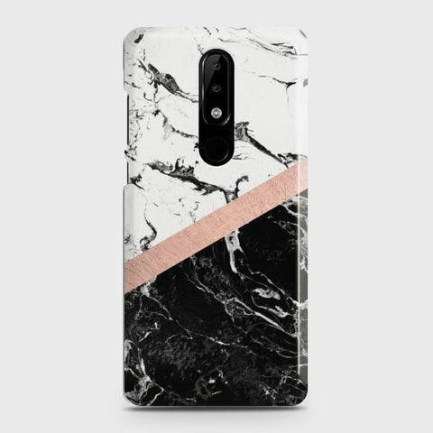 Nokia 3.1 Plus Black & White Marble With Chic RoseGold Case