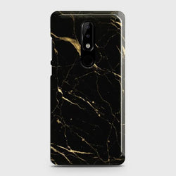 Nokia 3.1 Plus Classic Golden Black Marble Case