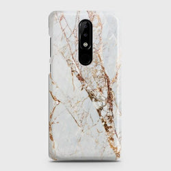 Nokia 3.1 Plus White & Gold Marble Case