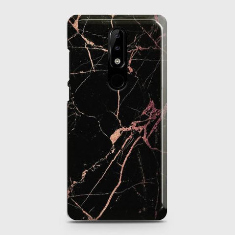 Nokia 5.1 Plus (Nokia X5) Black Rose Gold Marble  Case