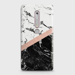 Nokia 6.1 Black & White Marble With Chic RoseGold Case