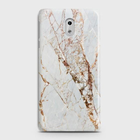 Nokia 6 White & Gold Marble Case