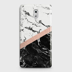 Nokia 6 Black & White Marble With Chic RoseGold Case
