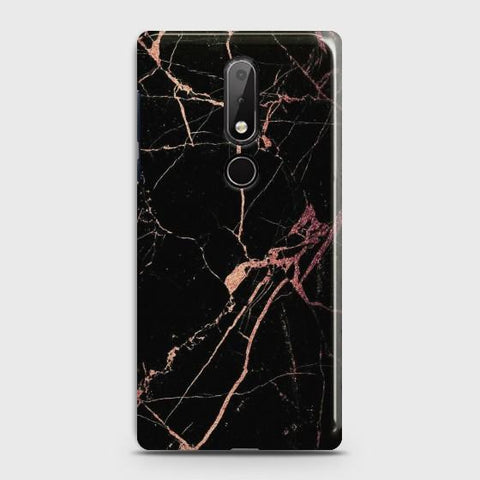 Nokia 7.1 Black Rose Gold Marble  Case