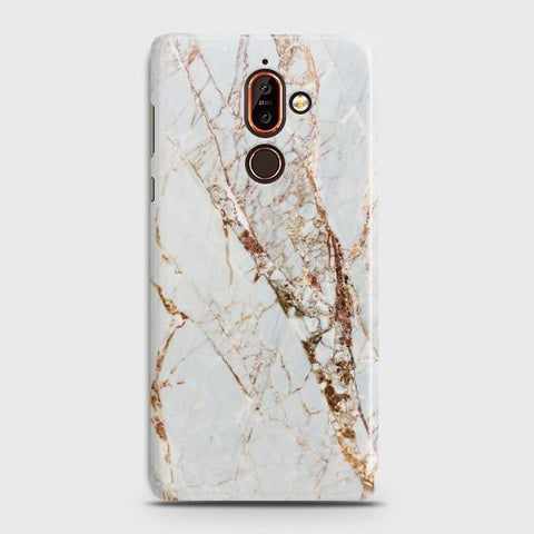 Nokia 7 Plus White & Gold Marble Case