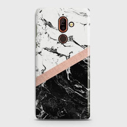 Nokia 7 Plus Black & White Marble With Chic RoseGold Case