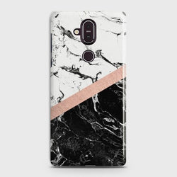 Nokia 8.1 Black & White Marble With Chic RoseGold Case