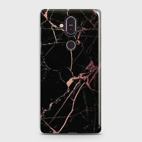 Nokia 8.1 Black Rose Gold Marble  Case
