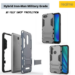 Realme iron man cover Hybrid triple protection shock proof with kickstand all Models