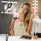 2 in 1 Led Selfie Ring Light with Phone Holder Desk Lamp Lazy Bracket Tabletop Stand Flexible