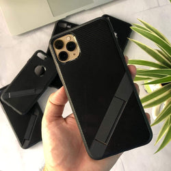 Ultra Thin Carbon Fiber Folding Stand Telefoon Case Voor Luxe Silicone Bracket Cover For iPhone Series