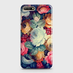 Huawei Y7 Pro 2018 Vintage colorful Flowers Phone Case