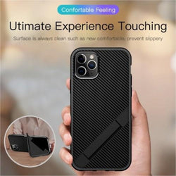 Ultra-Dunne Carbon Fiber Folding Stand Telefoon Case Voor Luxe Silicone Bracket Cover For iPhone Series