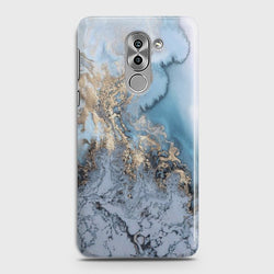 HUAWEI HONOR 6X Golden Blue Marble Case