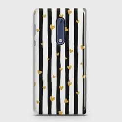 NOKIA 5 Glitter Heart Stripes case