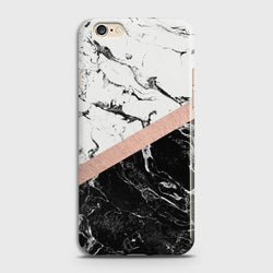 OPPO A57 Black & White Marble With Chic RoseGold Case