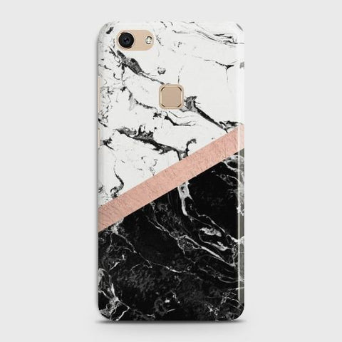 VIVO V7 Black & White Marble With Chic RoseGold Case