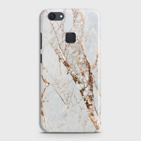VIVO V7 PLUS White & Gold Marble Case