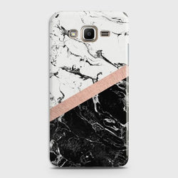 SAMSUNG GALAXY J3 2016 (J320) Black & White Marble With Chic RoseGold Case
