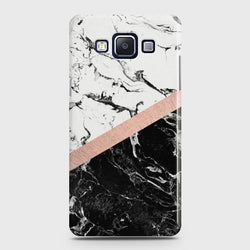 SAMSUNG GALAXY E5 Black & White Marble With Chic RoseGold Case