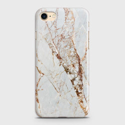 IPHONE 7 White & Gold Marble Case