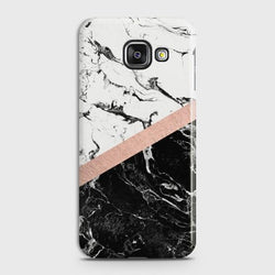 SAMSUNG GALAXY A5 2016 (A510) Black & White Marble With Chic RoseGold Case