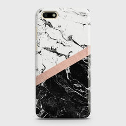 HUAWEI Y5 PRIME 2018 Black & White Marble With Chic RoseGold Case
